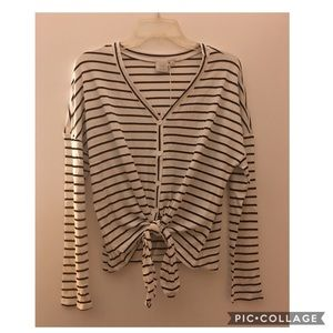 Nordstrom Tops - White Black Striped Crop Top Large XL